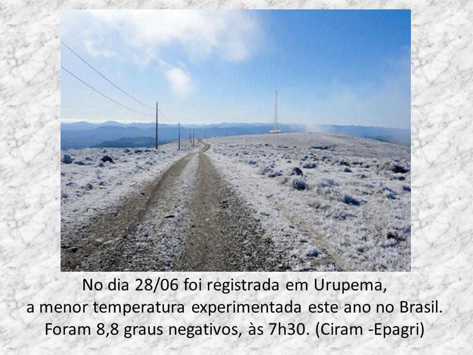 No dia 28/06 foi registrada em Urupema,