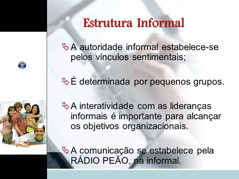 Estrutura Informal A autoridade informal estabelece-se pelos vínculos sentimentais; É determinada por pequenos grupos.