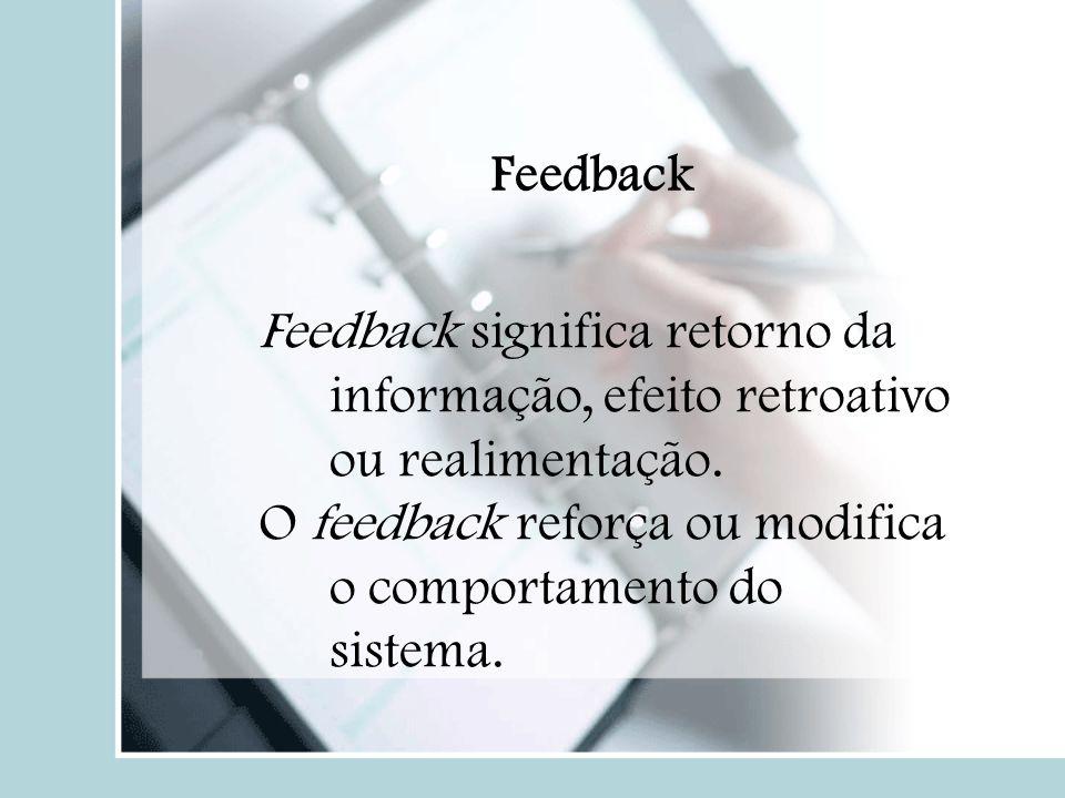 Feedback Feedback significa retorno da informação, efeito retroativo ou realimentação.