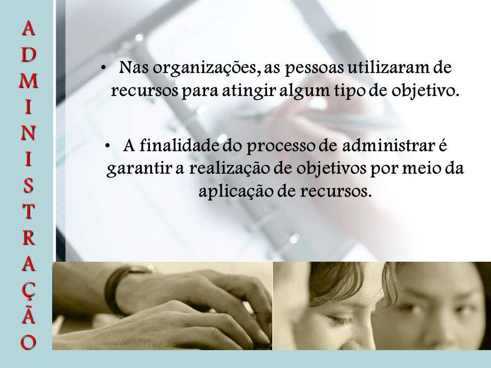 A D M I N I S T R A Ç Ã O Nas organizações, as pessoas utilizaram de recursos para atingir algum tipo de objetivo.