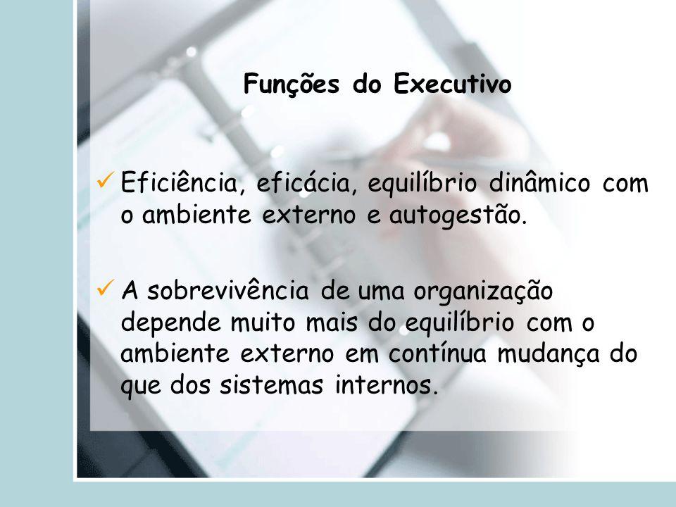 Funções do Executivo Eficiência, eficácia, equilíbrio dinâmico com o ambiente externo e autogestão.