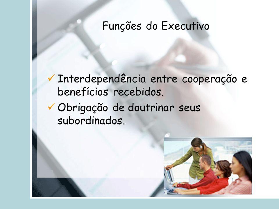 Funções do Executivo Interdependência entre cooperação e benefícios recebidos.