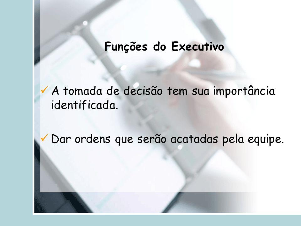 Funções do Executivo A tomada de decisão tem sua importância identificada.