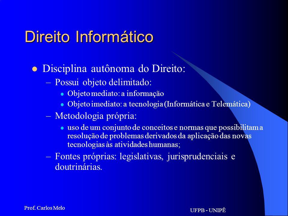 Direito Informático Disciplina autônoma do Direito: