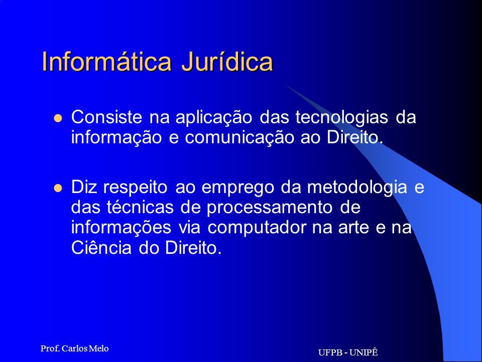 Informática Jurídica Consiste na aplicação das tecnologias da informação e comunicação ao Direito.