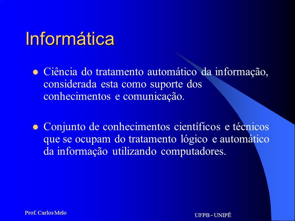 Informática Ciência do tratamento automático da informação, considerada esta como suporte dos conhecimentos e comunicação.
