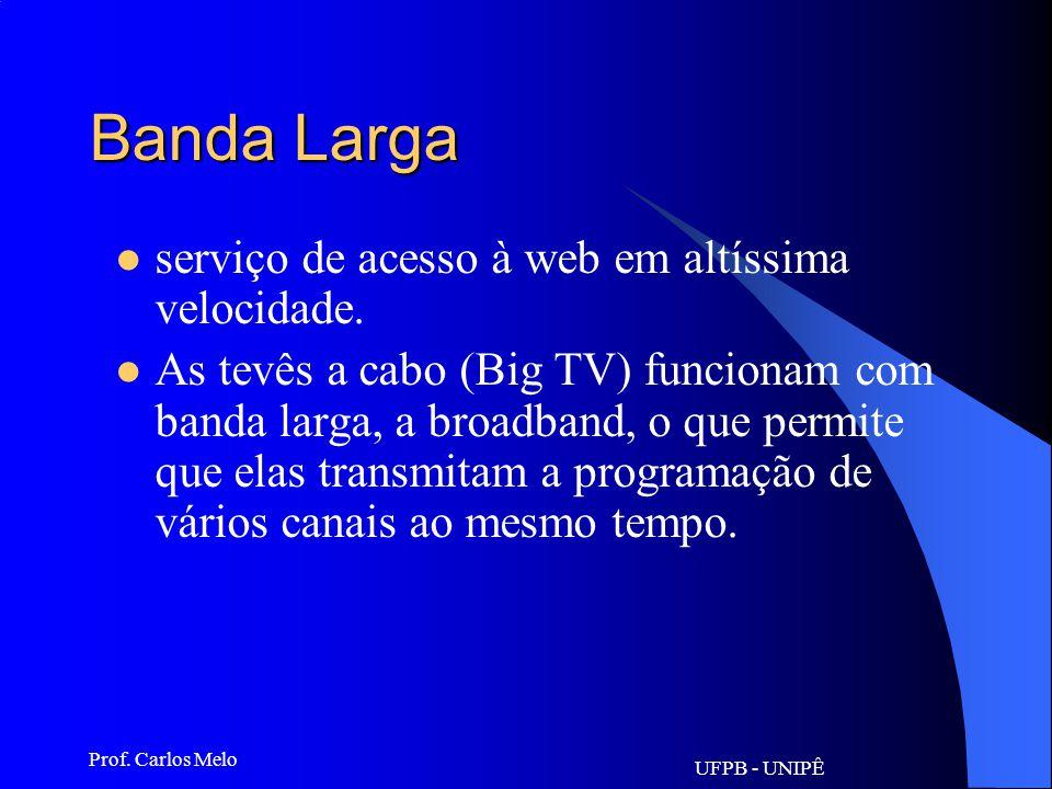Banda Larga serviço de acesso à web em altíssima velocidade.