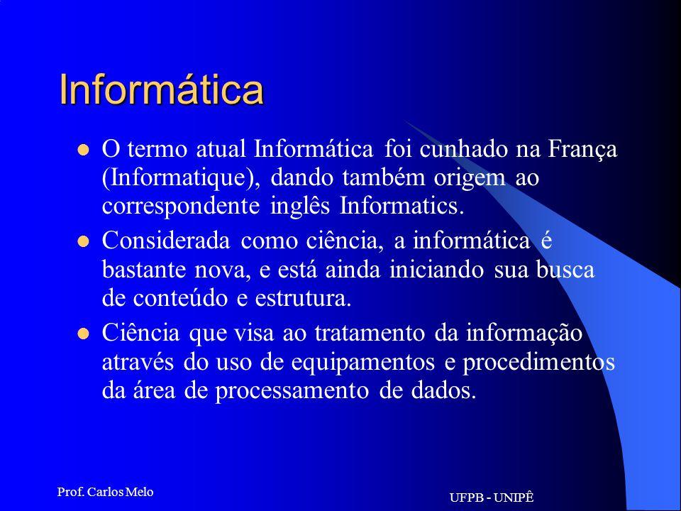 Informática O termo atual Informática foi cunhado na França (Informatique), dando também origem ao correspondente inglês Informatics.
