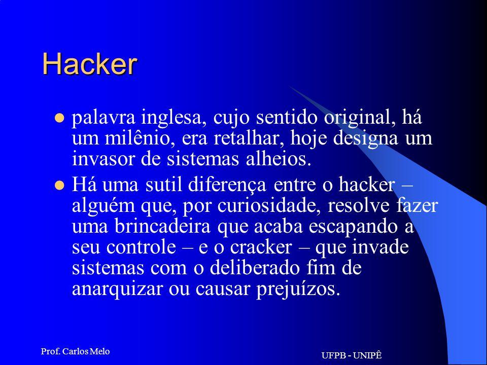 Hacker palavra inglesa, cujo sentido original, há um milênio, era retalhar, hoje designa um invasor de sistemas alheios.