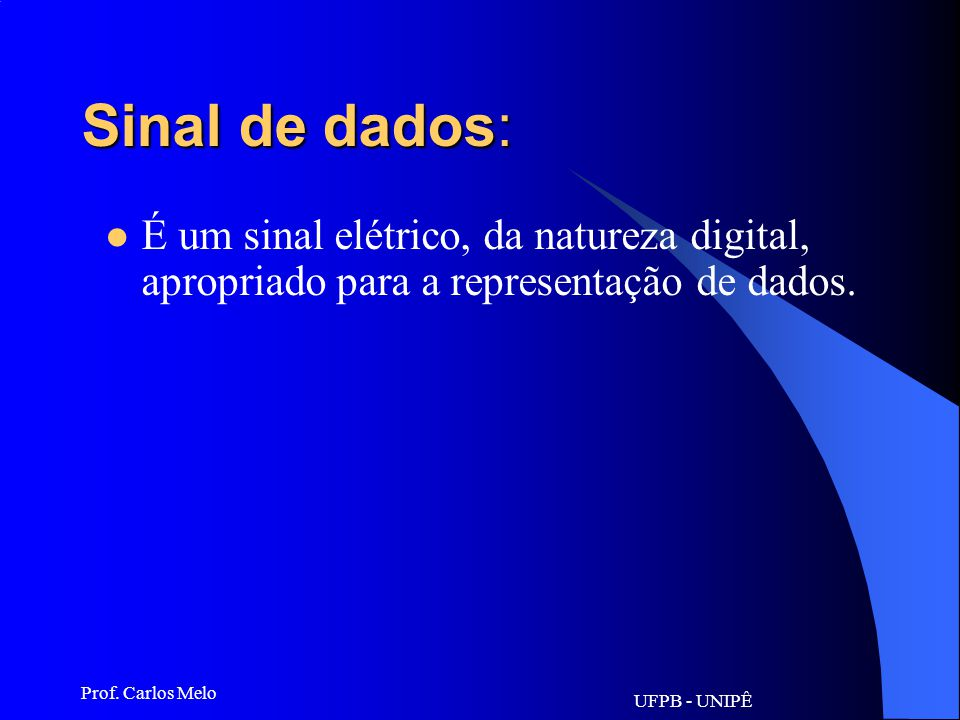 Sinal de dados: É um sinal elétrico, da natureza digital, apropriado para a representação de dados.
