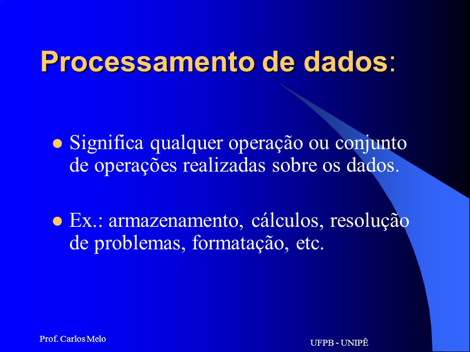 Processamento de dados:
