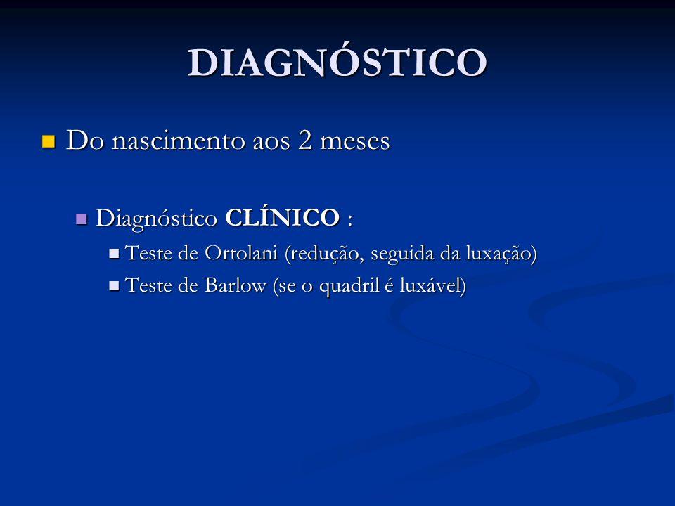 DIAGNÓSTICO Do nascimento aos 2 meses Diagnóstico CLÍNICO :