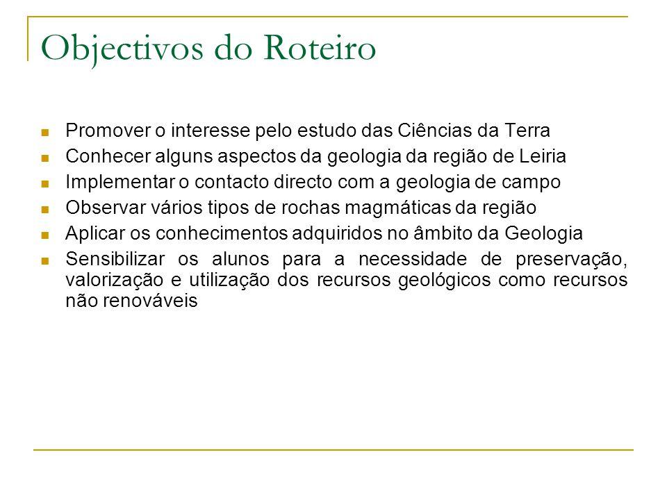 Objectivos do Roteiro Promover o interesse pelo estudo das Ciências da Terra. Conhecer alguns aspectos da geologia da região de Leiria.