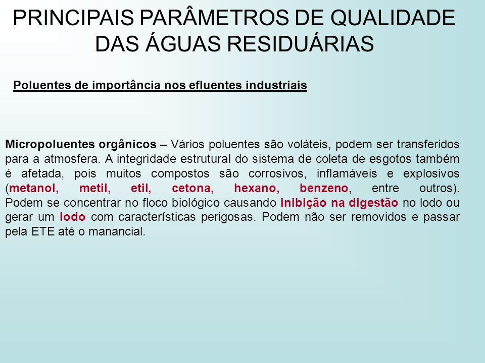 PRINCIPAIS PARÂMETROS DE QUALIDADE DAS ÁGUAS RESIDUÁRIAS