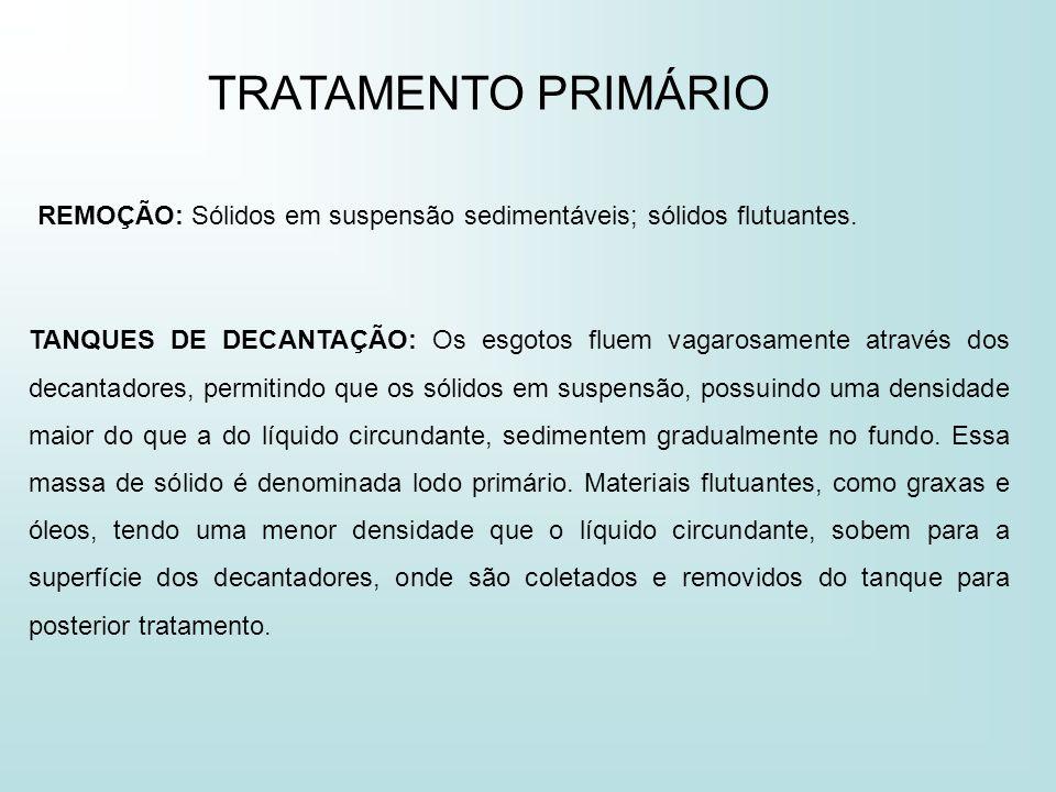 TRATAMENTO PRIMÁRIO REMOÇÃO: Sólidos em suspensão sedimentáveis; sólidos flutuantes.