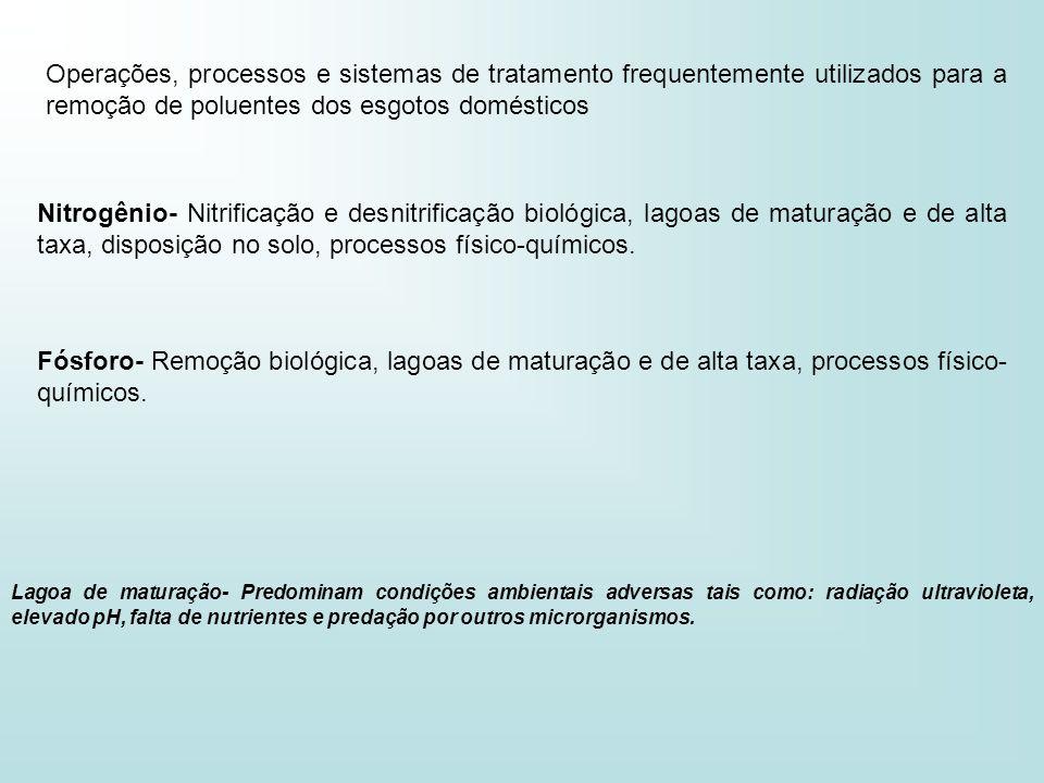Operações, processos e sistemas de tratamento frequentemente utilizados para a remoção de poluentes dos esgotos domésticos