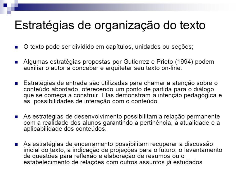 Estratégias de organização do texto