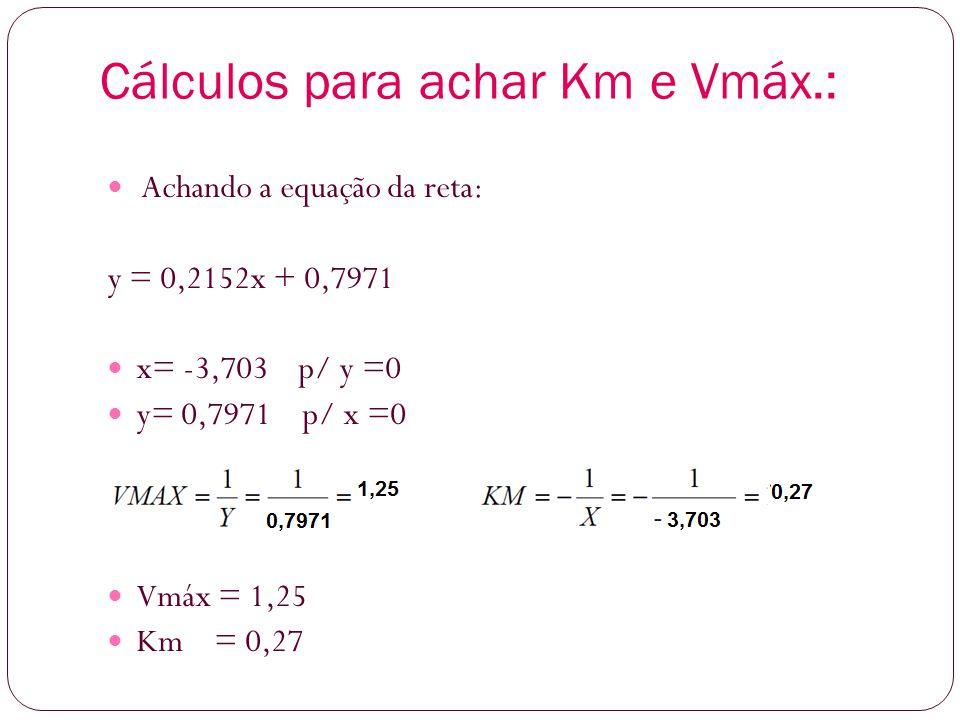 Cálculos para achar Km e Vmáx.: