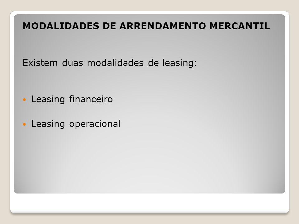 MODALIDADES DE ARRENDAMENTO MERCANTIL