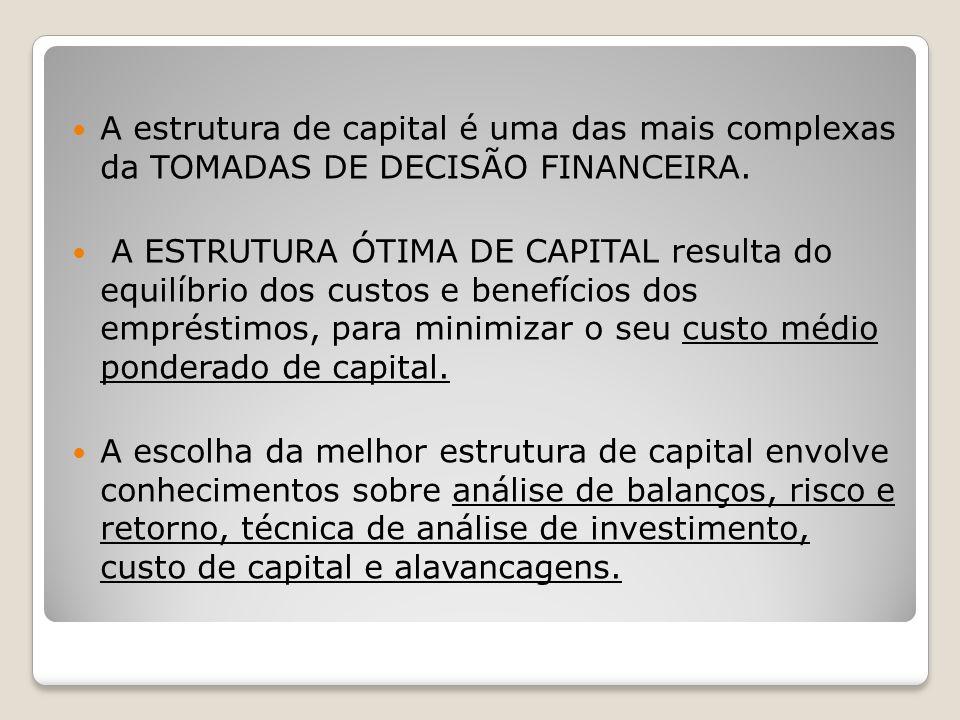 A estrutura de capital é uma das mais complexas da TOMADAS DE DECISÃO FINANCEIRA.