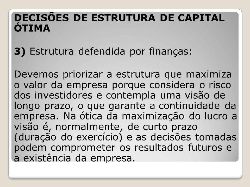 DECISÕES DE ESTRUTURA DE CAPITAL ÓTIMA