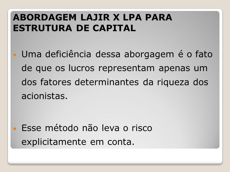 ABORDAGEM LAJIR X LPA PARA ESTRUTURA DE CAPITAL