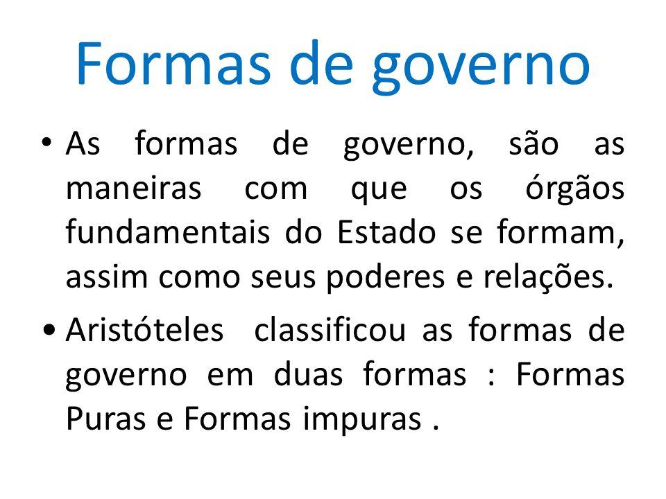 Formas de governo As formas de governo, são as maneiras com que os órgãos fundamentais do Estado se formam, assim como seus poderes e relações.