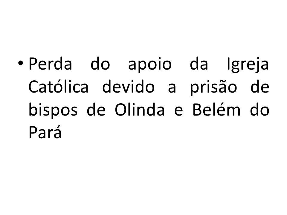 Perda do apoio da Igreja Católica devido a prisão de bispos de Olinda e Belém do Pará