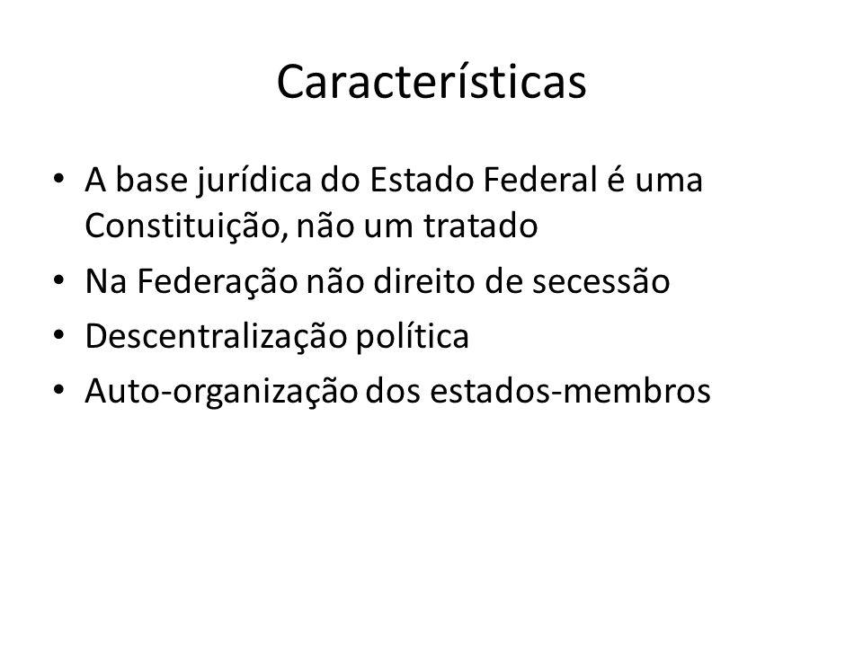 Características A base jurídica do Estado Federal é uma Constituição, não um tratado. Na Federação não direito de secessão.