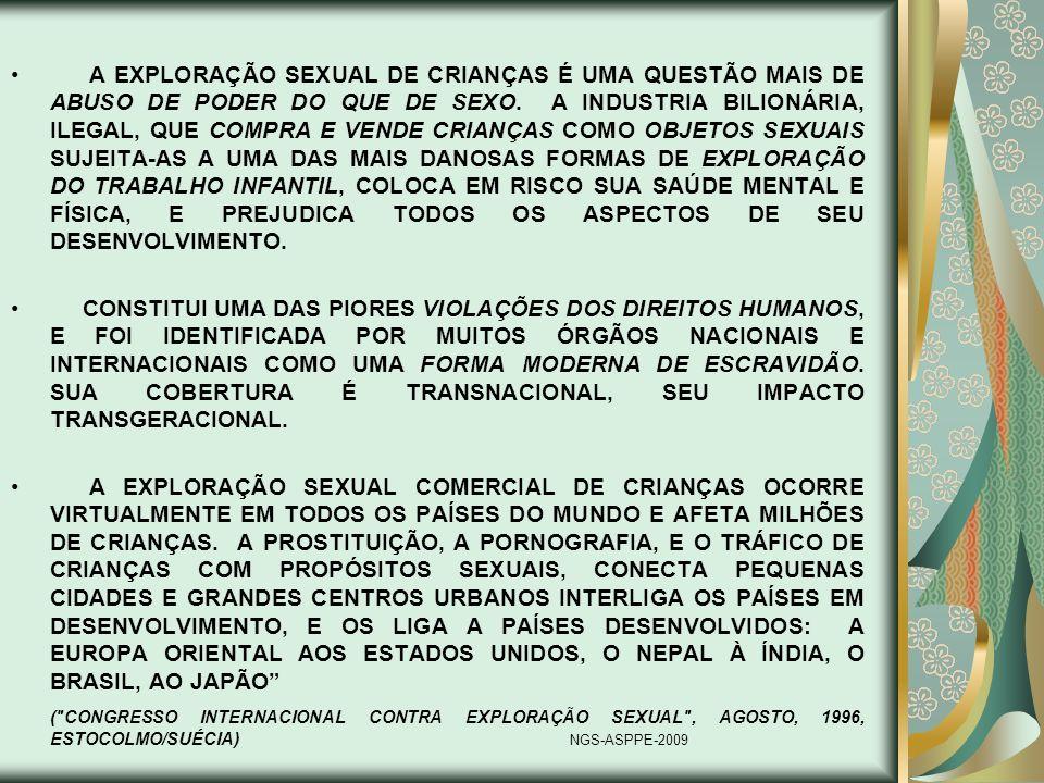 A EXPLORAÇÃO SEXUAL DE CRIANÇAS É UMA QUESTÃO MAIS DE ABUSO DE PODER DO QUE DE SEXO. A INDUSTRIA BILIONÁRIA, ILEGAL, QUE COMPRA E VENDE CRIANÇAS COMO OBJETOS SEXUAIS SUJEITA-AS A UMA DAS MAIS DANOSAS FORMAS DE EXPLORAÇÃO DO TRABALHO INFANTIL, COLOCA EM RISCO SUA SAÚDE MENTAL E FÍSICA, E PREJUDICA TODOS OS ASPECTOS DE SEU DESENVOLVIMENTO.