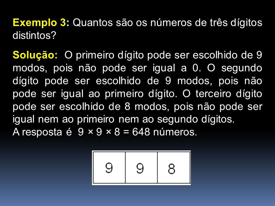 Exemplo 3: Quantos são os números de três dígitos distintos