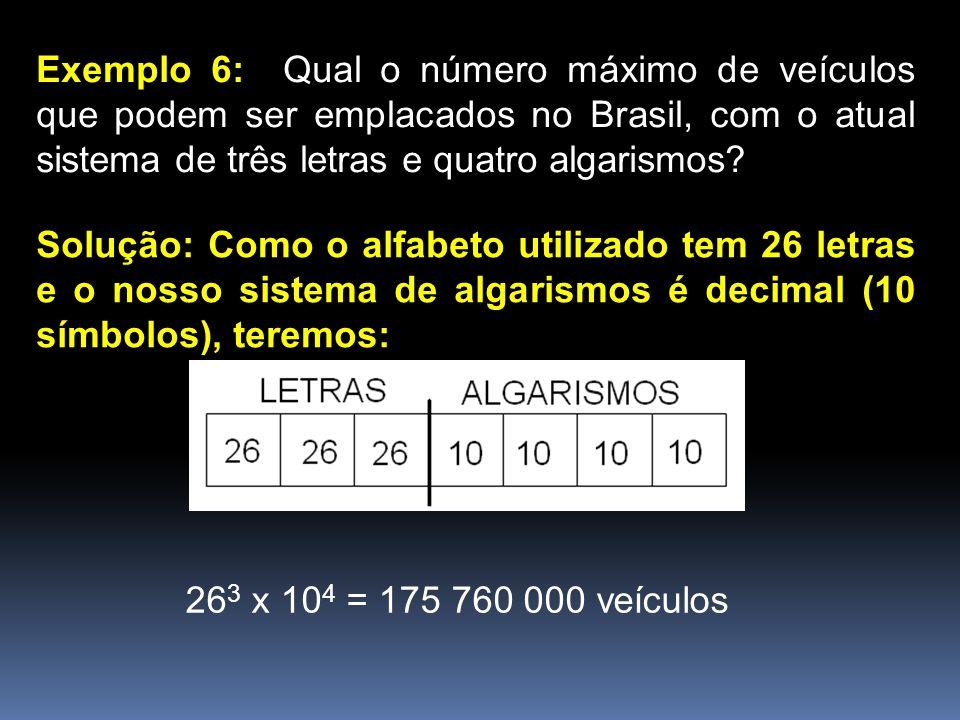 Exemplo 6: Qual o número máximo de veículos que podem ser emplacados no Brasil, com o atual sistema de três letras e quatro algarismos