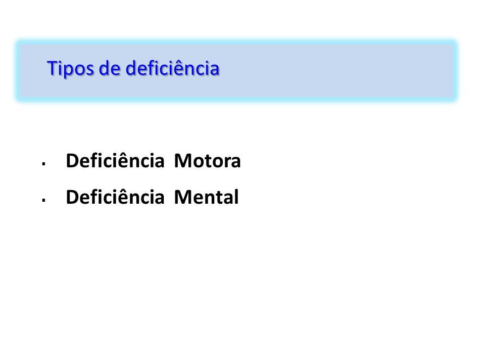 Tipos de deficiência Deficiência Motora Deficiência Mental