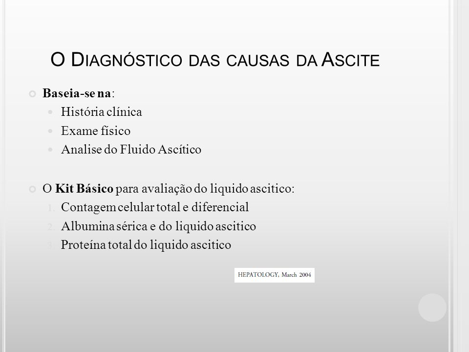 O Diagnóstico das causas da Ascite