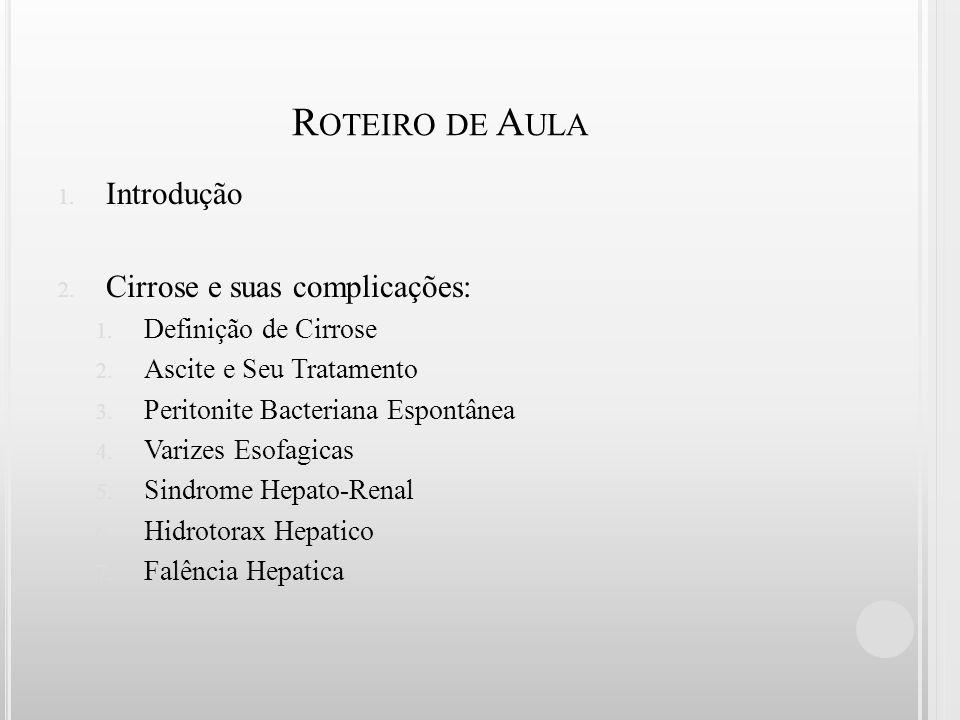 Roteiro de Aula Introdução Cirrose e suas complicações: