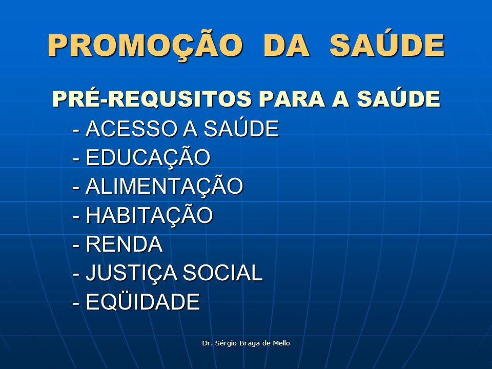 PROMOÇÃO DA SAÚDE PRÉ-REQUSITOS PARA A SAÚDE - ACESSO A SAÚDE