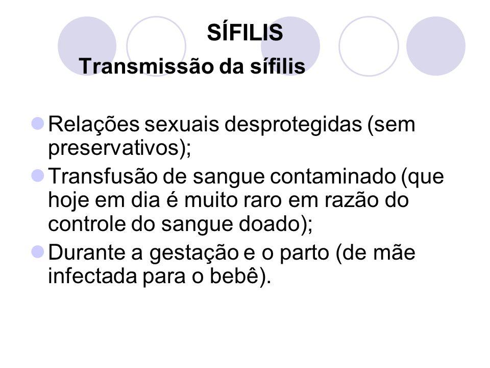 SÍFILIS Transmissão da sífilis