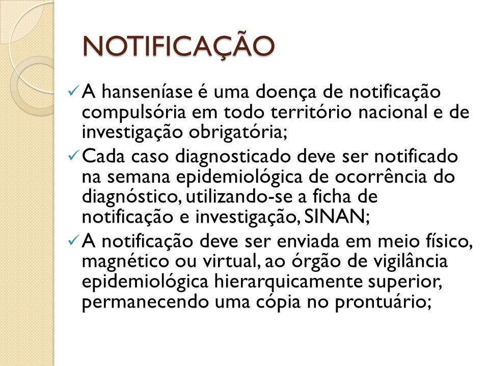 NOTIFICAÇÃO A hanseníase é uma doença de notificação compulsória em todo território nacional e de investigação obrigatória;