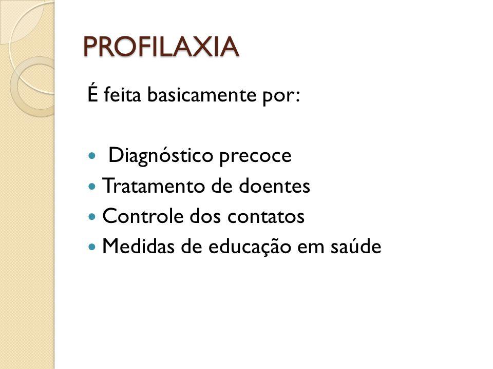 PROFILAXIA É feita basicamente por: Diagnóstico precoce
