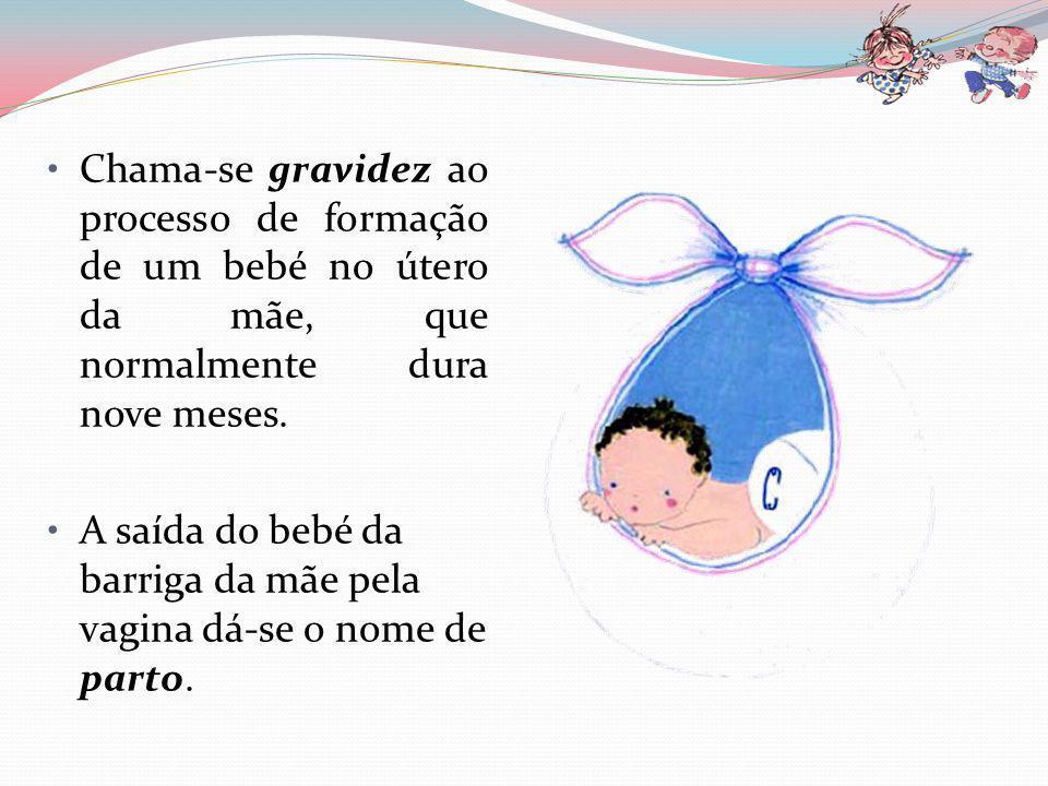 Chama-se gravidez ao processo de formação de um bebé no útero da mãe, que normalmente dura nove meses.