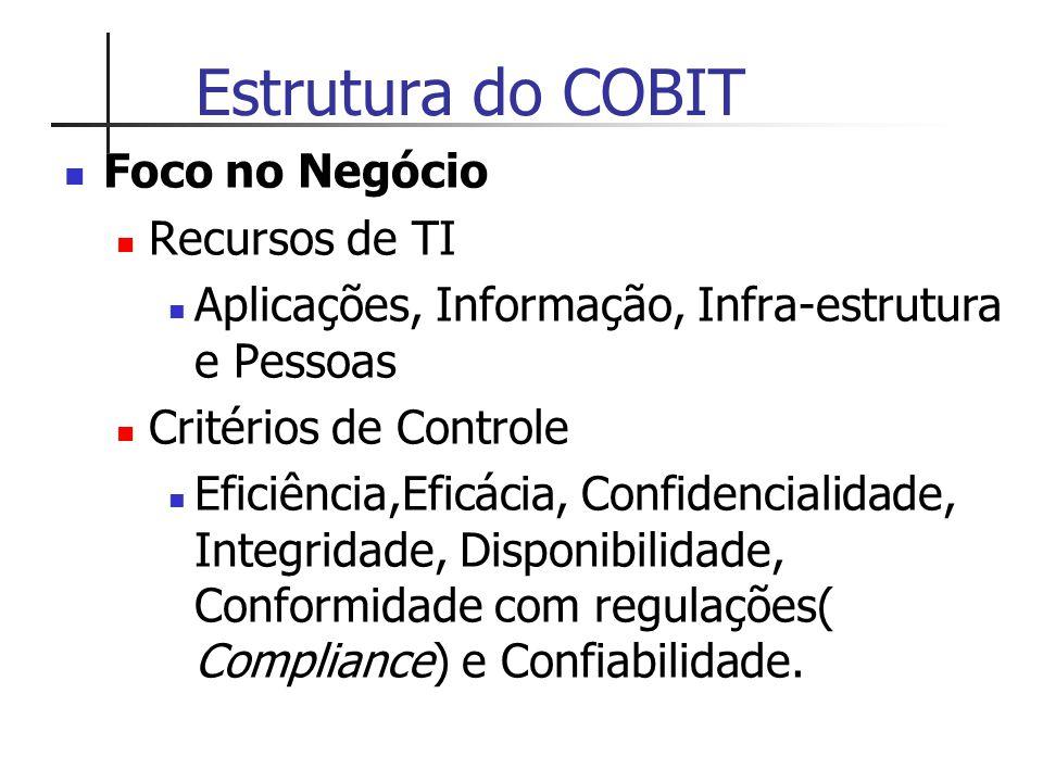 Estrutura do COBIT Foco no Negócio Recursos de TI