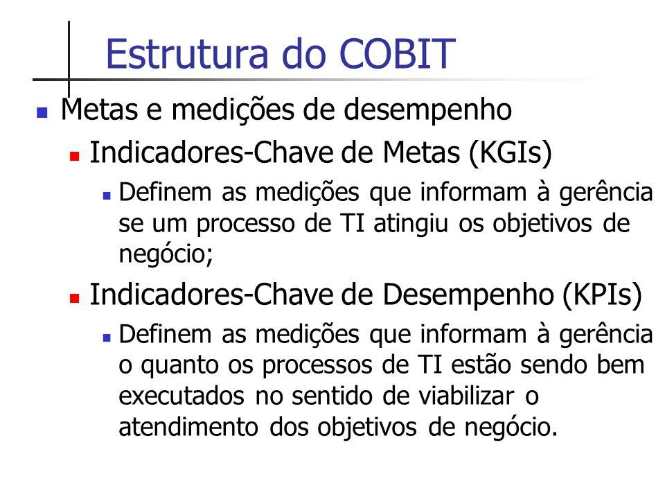 Estrutura do COBIT Metas e medições de desempenho