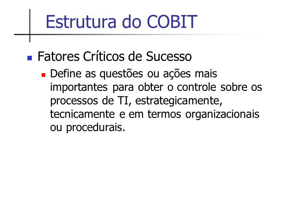 Estrutura do COBIT Fatores Críticos de Sucesso
