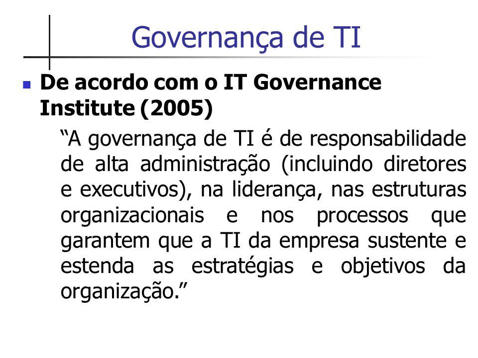 Governança de TI De acordo com o IT Governance Institute (2005)