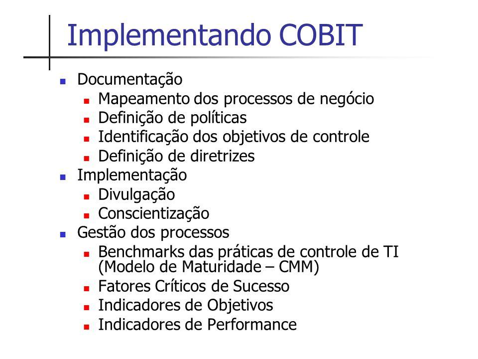 Implementando COBIT Documentação Mapeamento dos processos de negócio