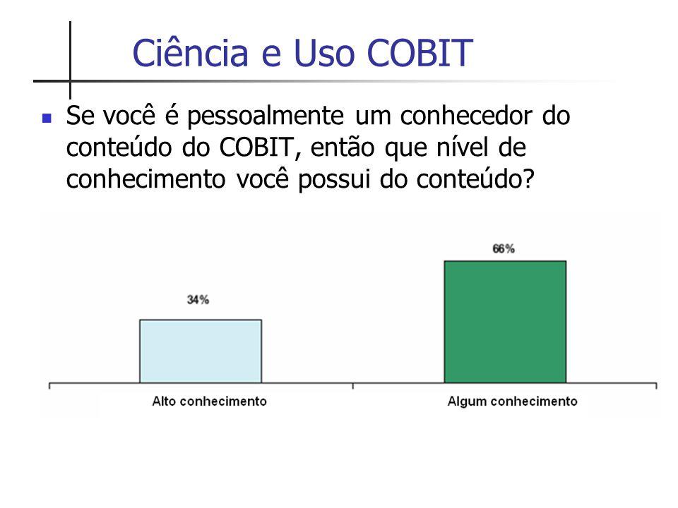 Ciência e Uso COBIT Se você é pessoalmente um conhecedor do conteúdo do COBIT, então que nível de conhecimento você possui do conteúdo