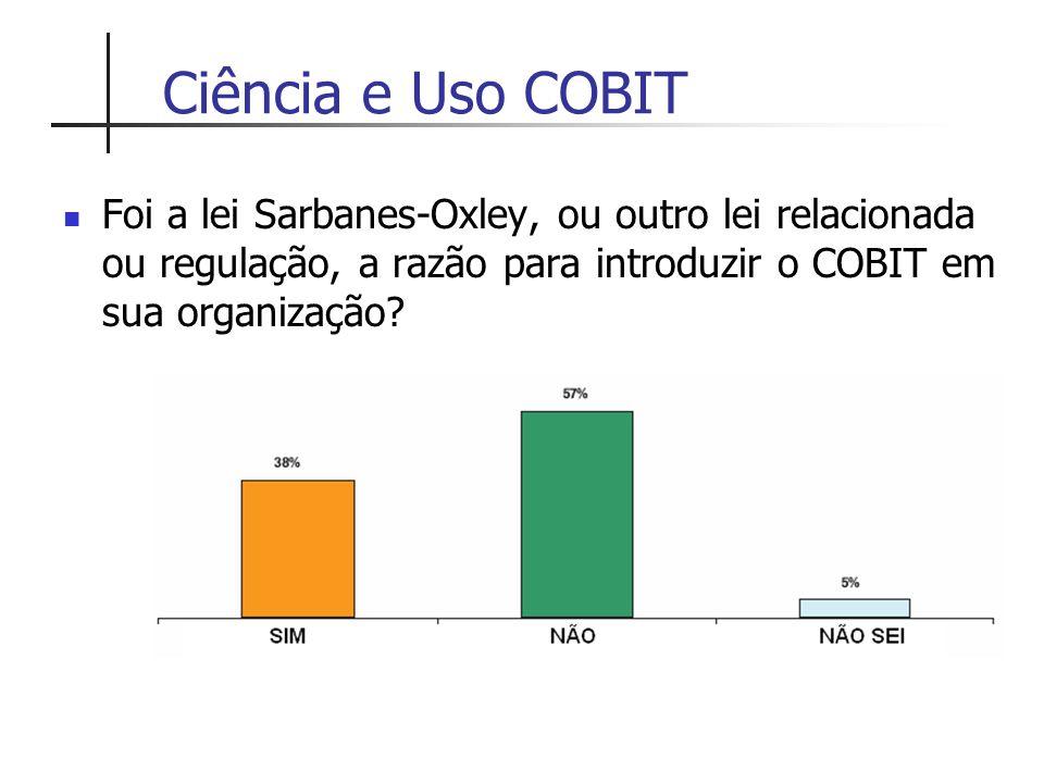 Ciência e Uso COBIT Foi a lei Sarbanes-Oxley, ou outro lei relacionada ou regulação, a razão para introduzir o COBIT em sua organização