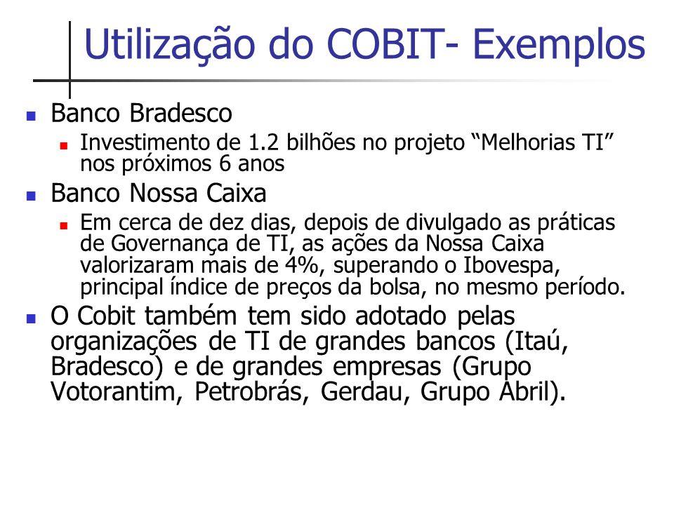 Utilização do COBIT- Exemplos