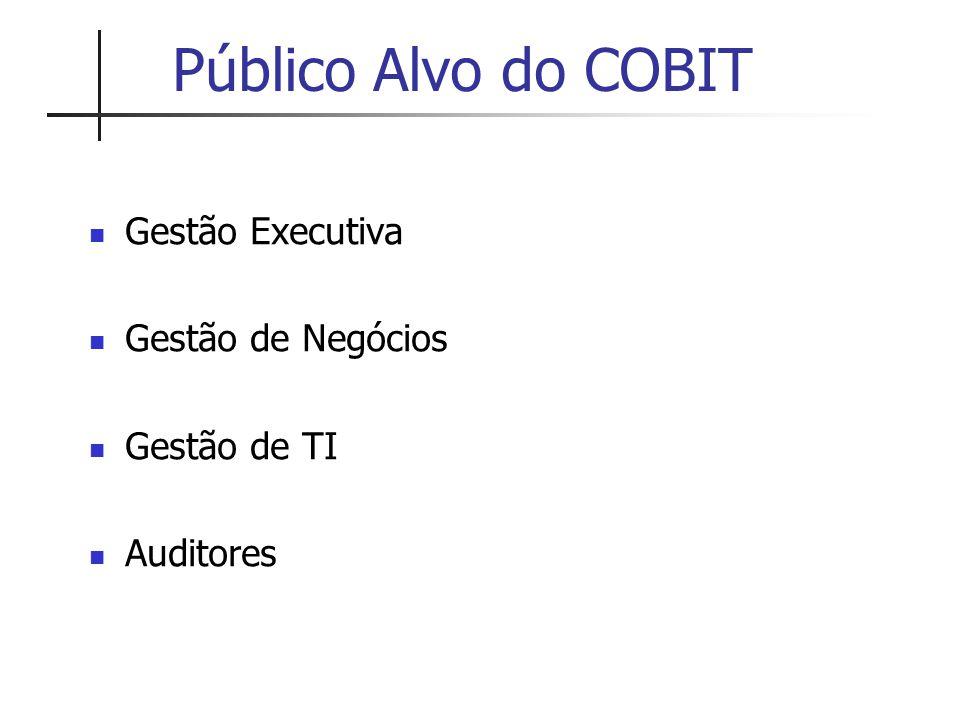 Público Alvo do COBIT Gestão Executiva Gestão de Negócios Gestão de TI