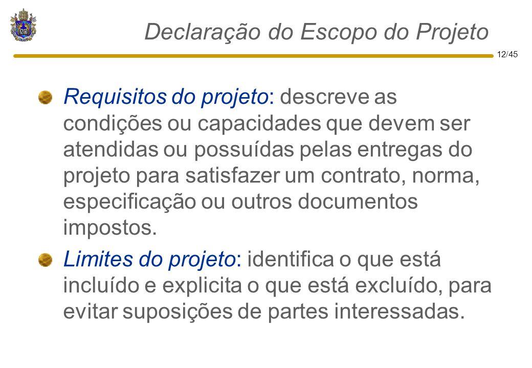 Declaração do Escopo do Projeto